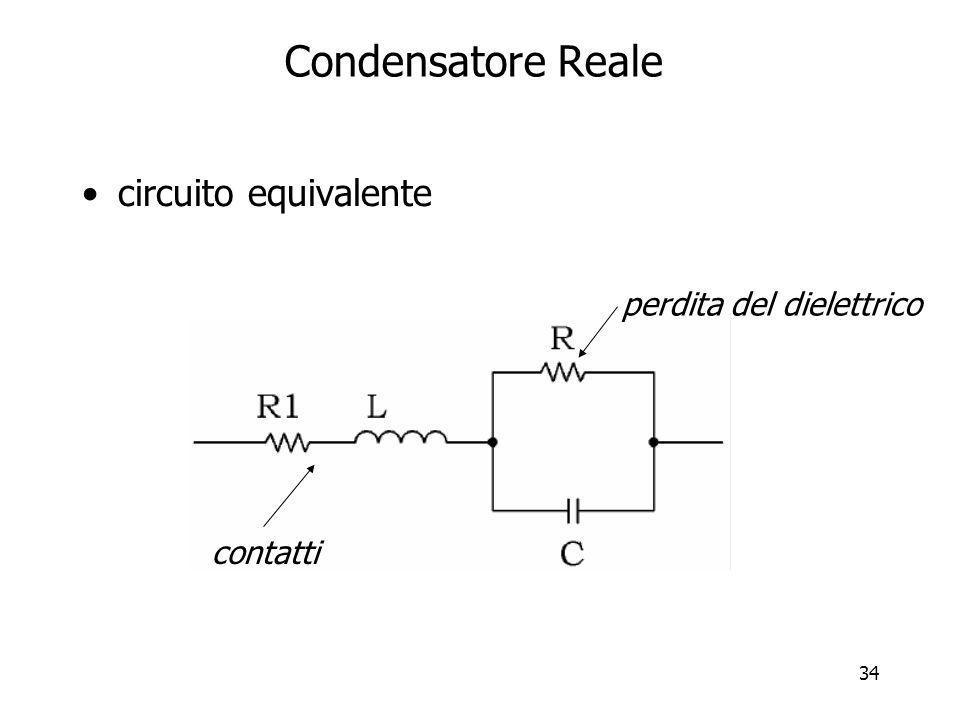 Condensatore Reale circuito equivalente perdita del dielettrico