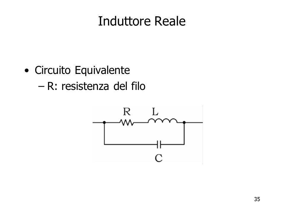 Induttore Reale Circuito Equivalente R: resistenza del filo