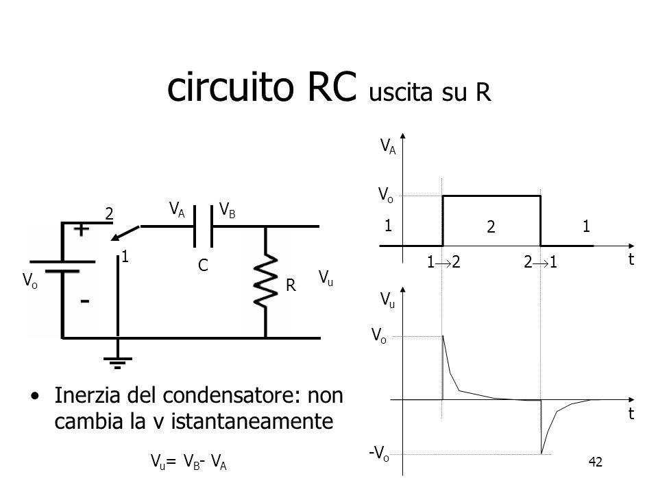 circuito RC uscita su R VA. Vo. VA. VB. 2. 1. 2. 1. 1. 12. 21. t. C. Vo. Vu. R. Vu.