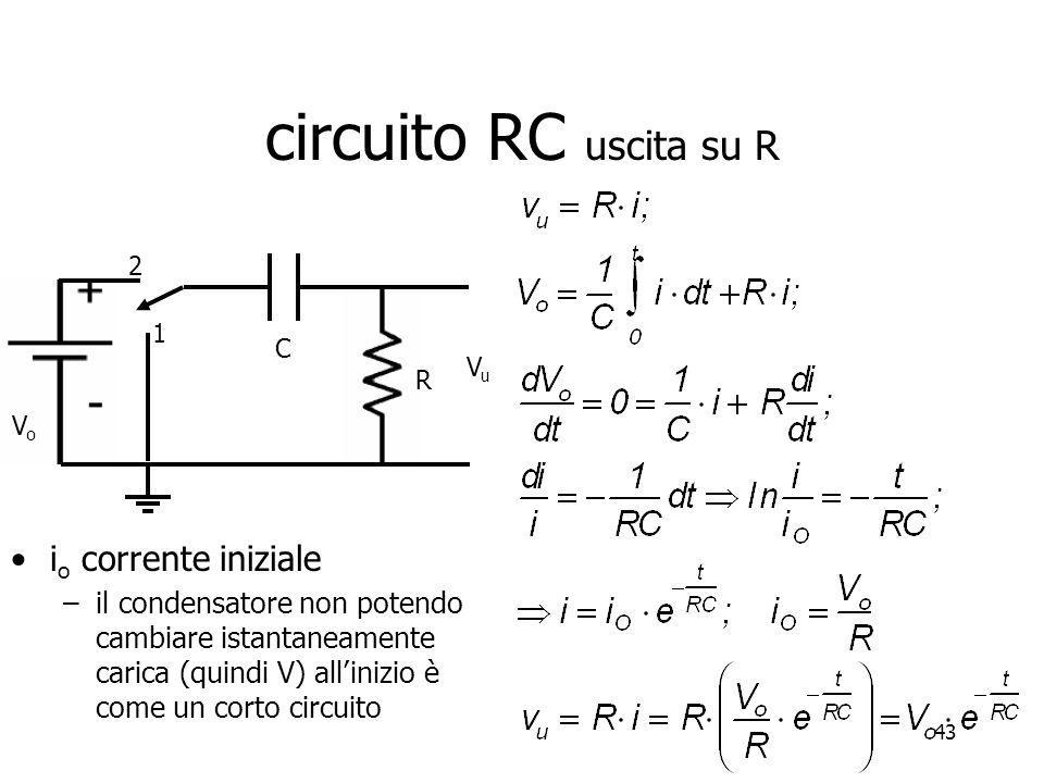 circuito RC uscita su R io corrente iniziale