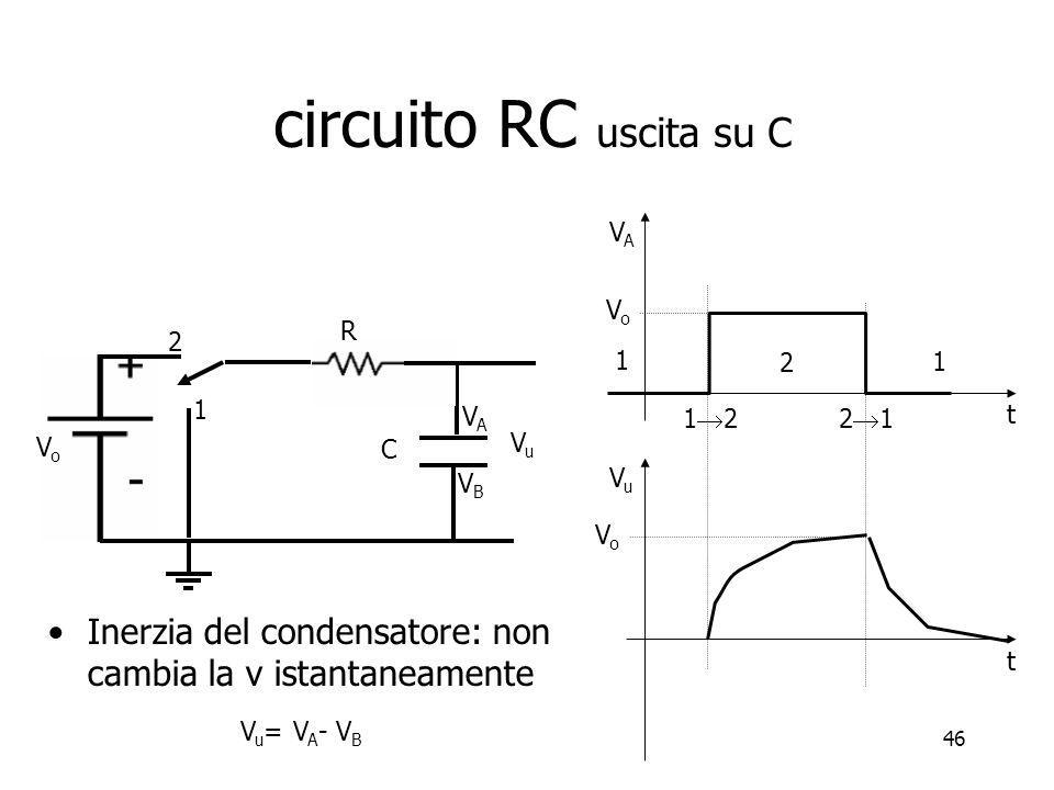 circuito RC uscita su C VA. Vo. 1. 2. C. Vo. Vu. VB. VA. R. 1. 2. 1. 12. 21. t. Vu.