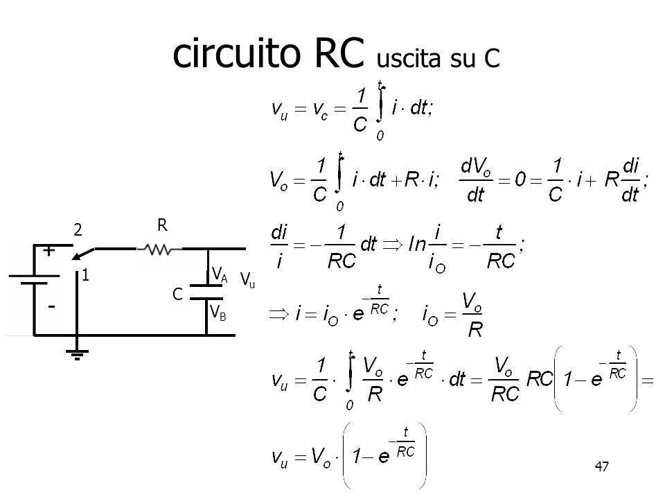 circuito RC uscita su C R 2 1 C VB VA Vo Vu