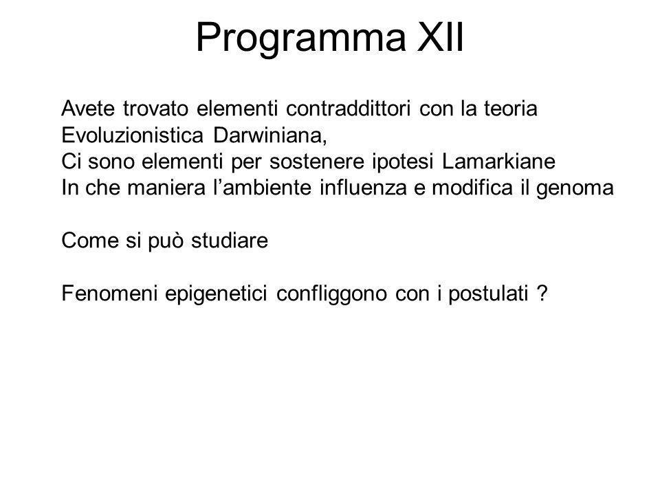 Programma XII Avete trovato elementi contraddittori con la teoria