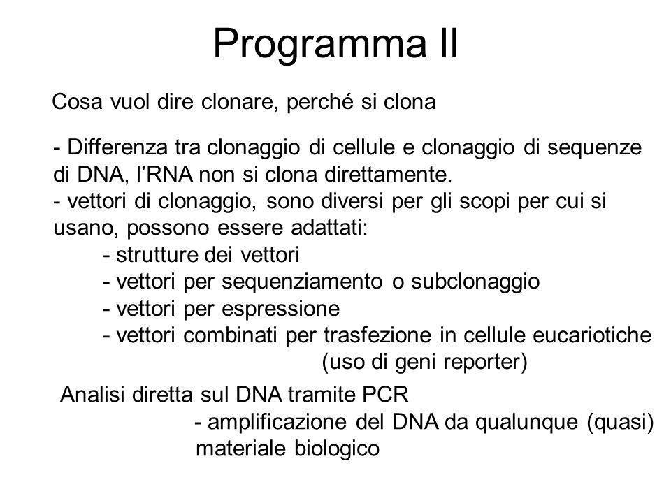 Programma II Cosa vuol dire clonare, perché si clona