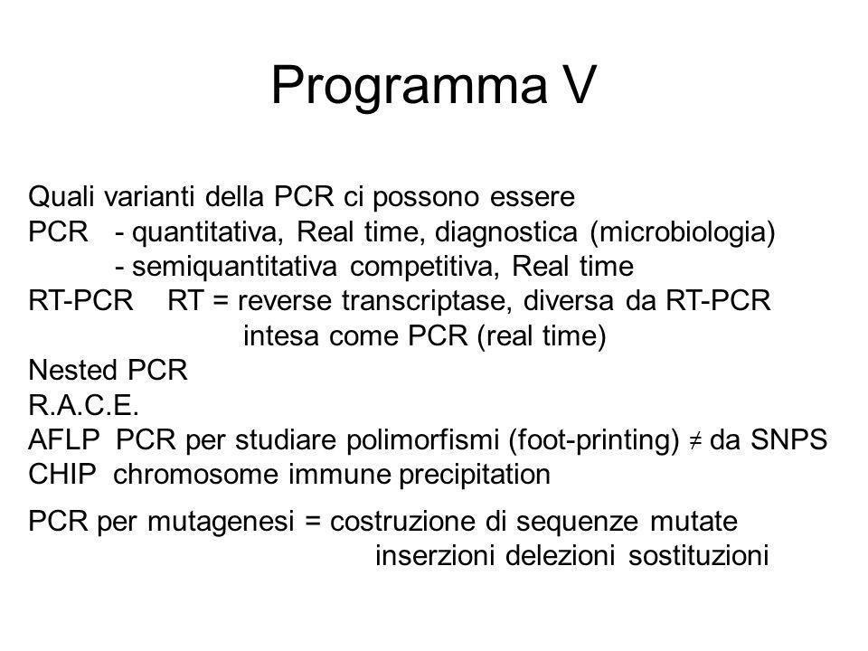 Programma V Quali varianti della PCR ci possono essere