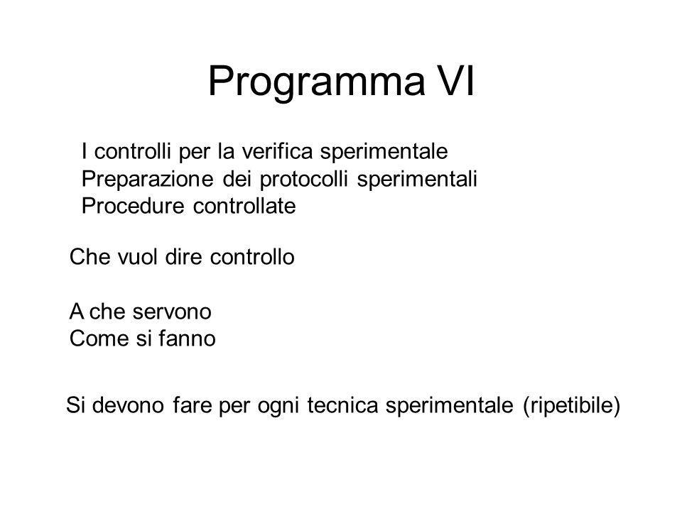 Programma VI I controlli per la verifica sperimentale