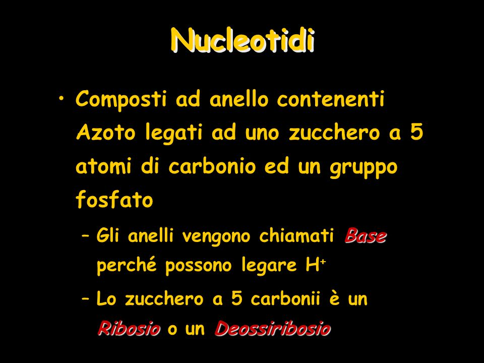 Nucleotidi Composti ad anello contenenti Azoto legati ad uno zucchero a 5 atomi di carbonio ed un gruppo fosfato.