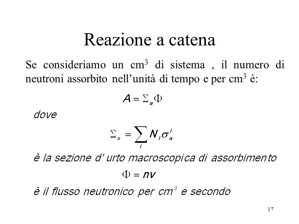 Reazione a catena Se consideriamo un cm3 di sistema , il numero di neutroni assorbito nell'unità di tempo e per cm3 è:
