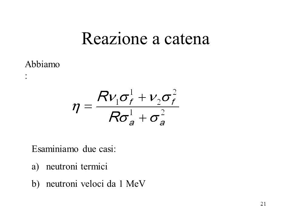 Reazione a catena Abbiamo: Esaminiamo due casi: neutroni termici