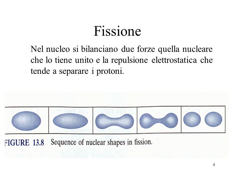 Fissione Nel nucleo si bilanciano due forze quella nucleare che lo tiene unito e la repulsione elettrostatica che tende a separare i protoni.