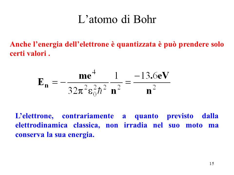 L'atomo di Bohr Anche l'energia dell'elettrone è quantizzata è può prendere solo certi valori .