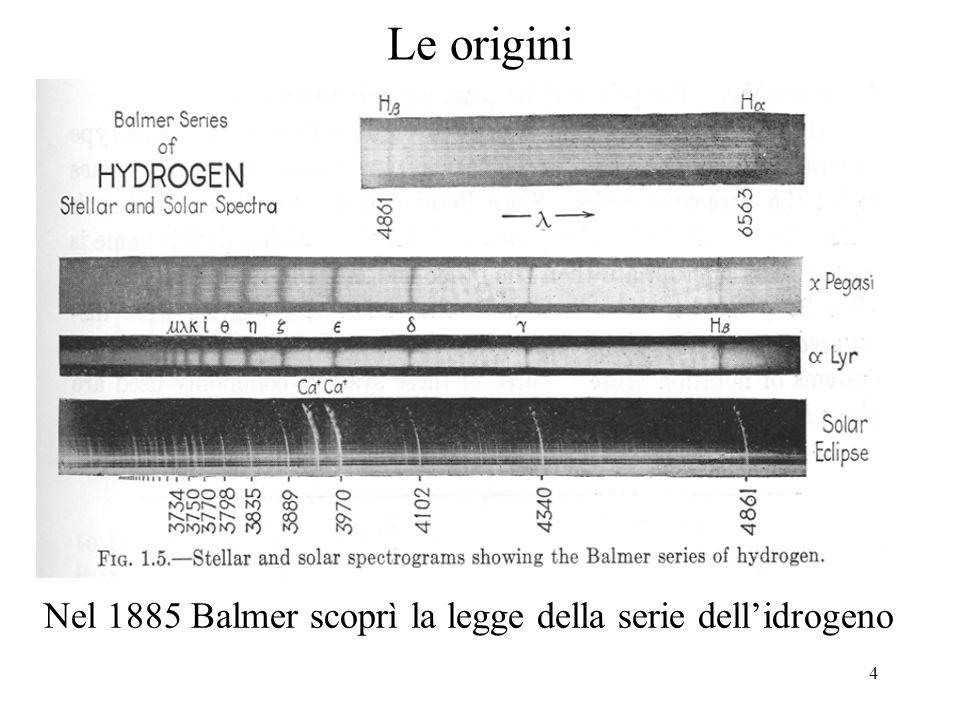 Le origini Nel 1885 Balmer scoprì la legge della serie dell'idrogeno