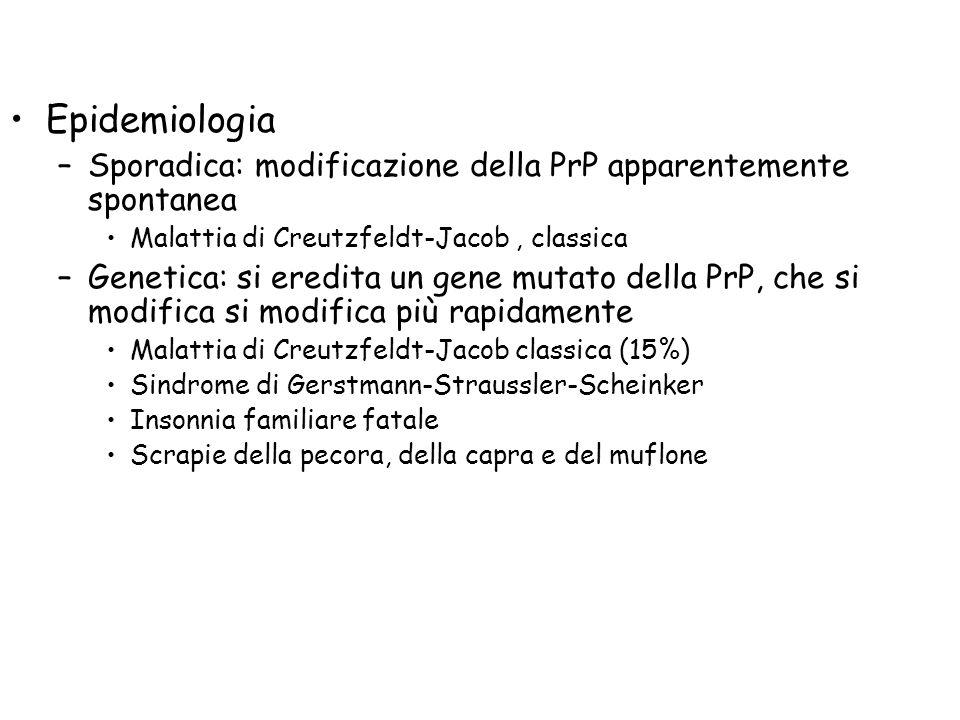 Epidemiologia Sporadica: modificazione della PrP apparentemente spontanea. Malattia di Creutzfeldt-Jacob , classica.