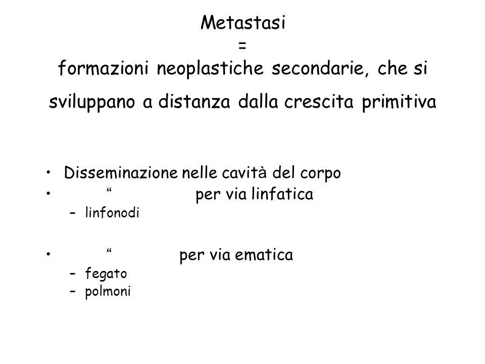 Metastasi = formazioni neoplastiche secondarie, che si sviluppano a distanza dalla crescita primitiva