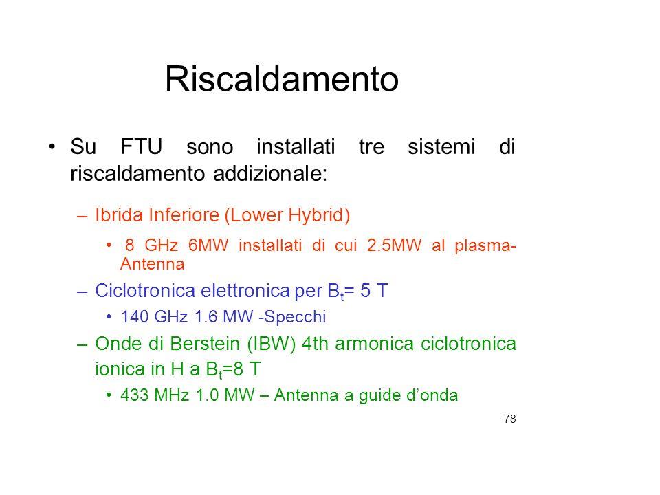 RiscaldamentoSu FTU sono installati tre sistemi di riscaldamento addizionale: Ibrida Inferiore (Lower Hybrid)