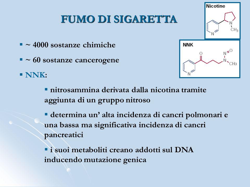 FUMO DI SIGARETTA ~ 4000 sostanze chimiche ~ 60 sostanze cancerogene