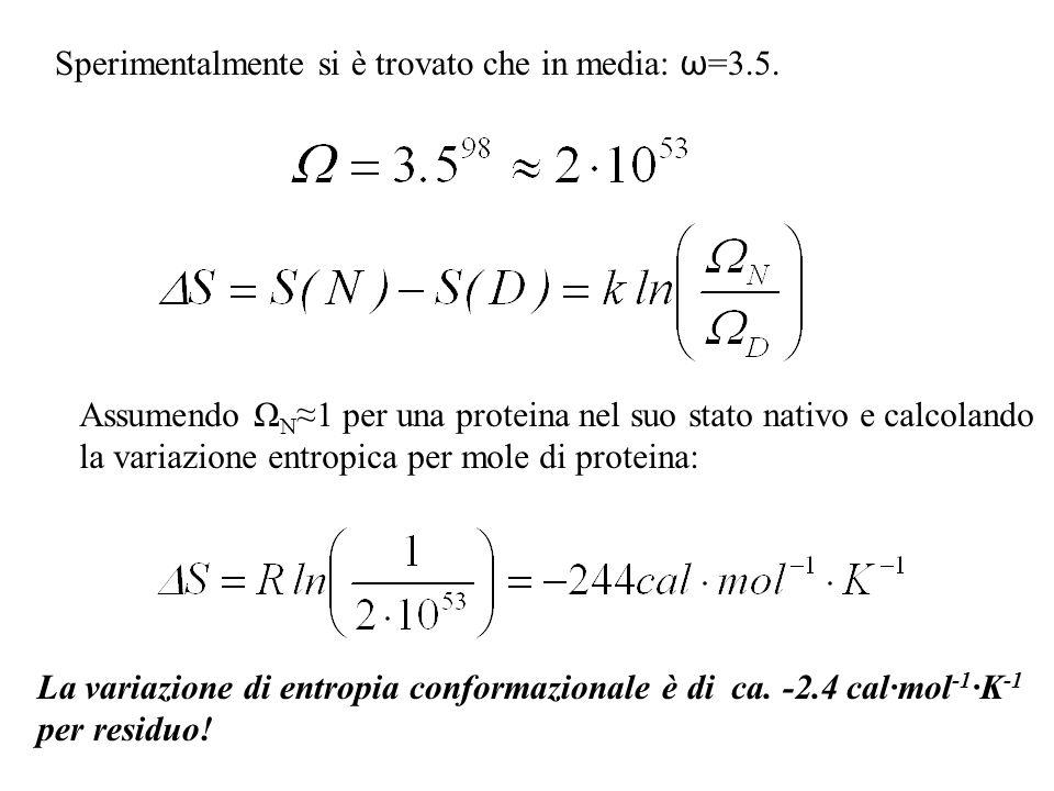 Sperimentalmente si è trovato che in media: ω=3.5.