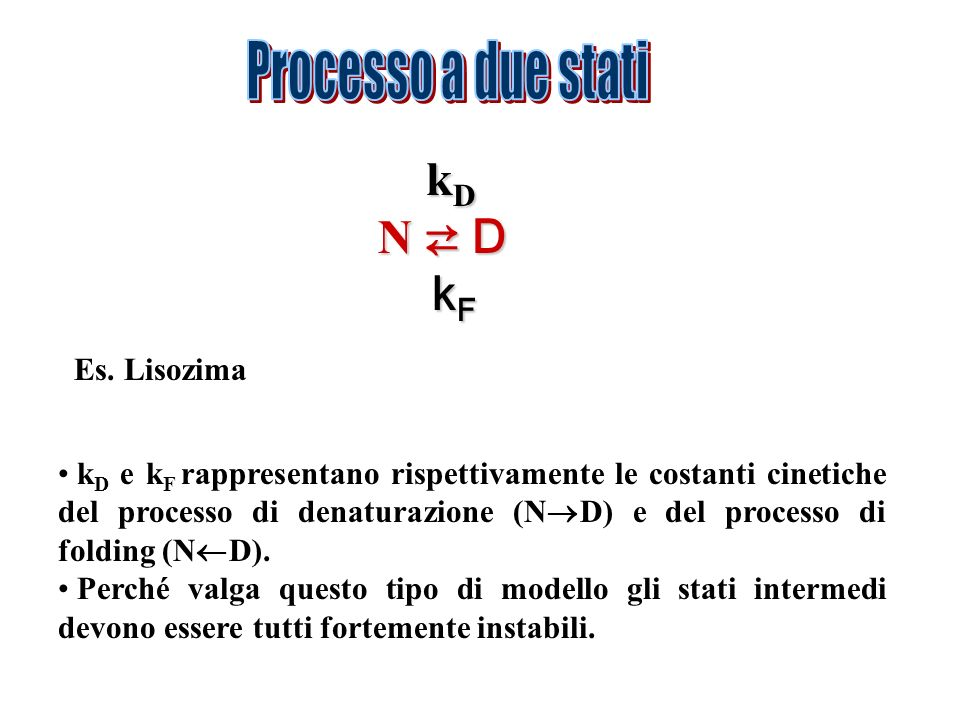Processo a due stati kD N ⇄ D kF Es. Lisozima