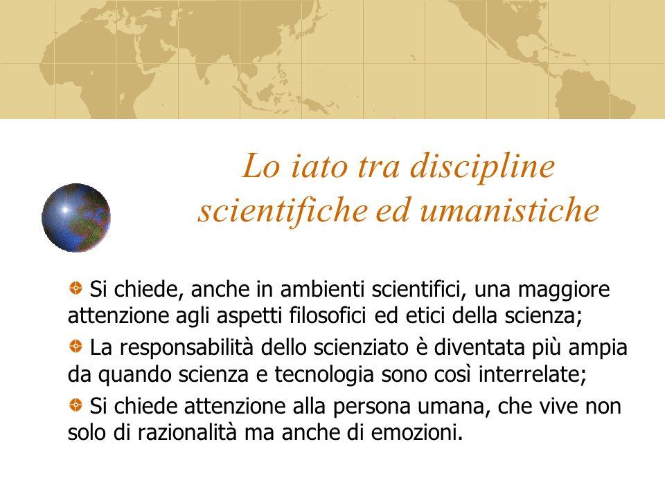 Lo iato tra discipline scientifiche ed umanistiche