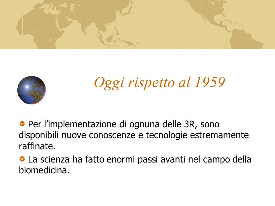 Oggi rispetto al 1959 Per l'implementazione di ognuna delle 3R, sono disponibili nuove conoscenze e tecnologie estremamente raffinate.