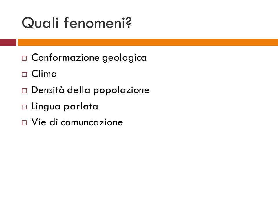 Quali fenomeni Conformazione geologica Clima