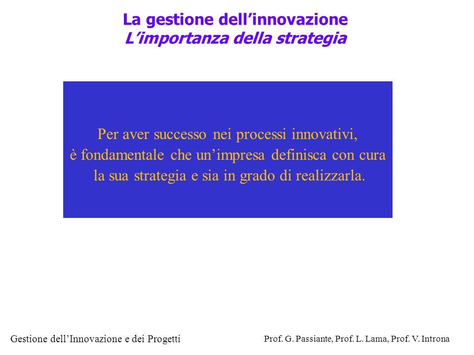 La gestione dell'innovazione L'importanza della strategia