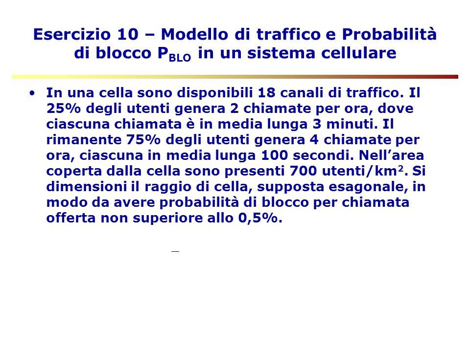 Esercizio 10 – Modello di traffico e Probabilità di blocco PBLO in un sistema cellulare