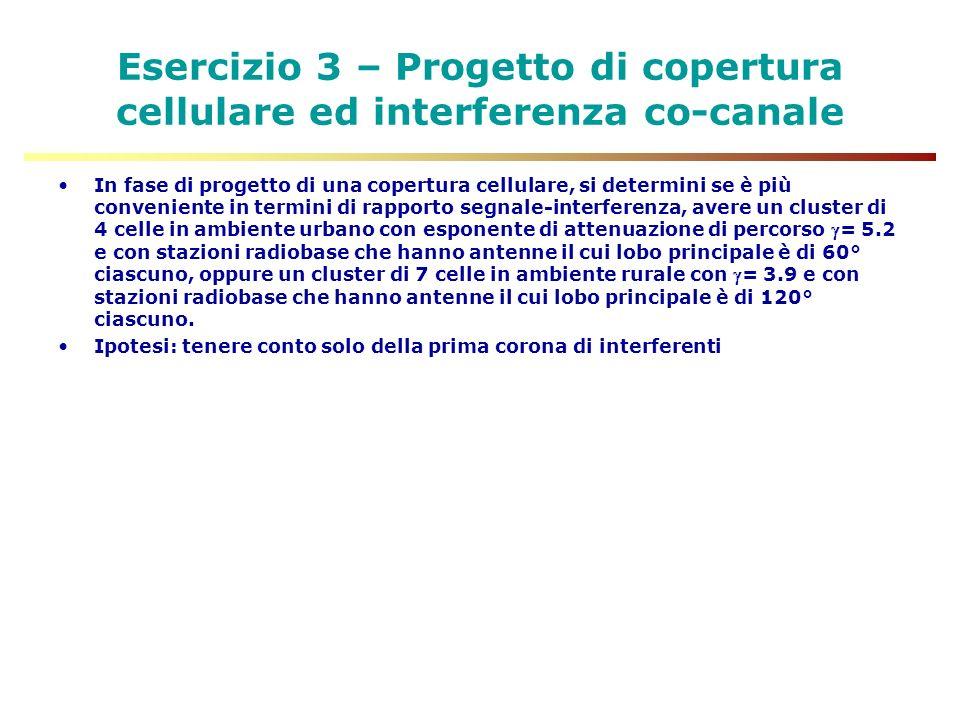 Esercizio 3 – Progetto di copertura cellulare ed interferenza co-canale