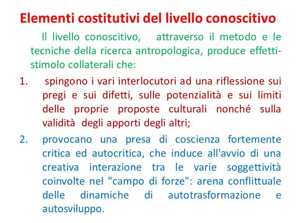 Elementi costitutivi del livello conoscitivo