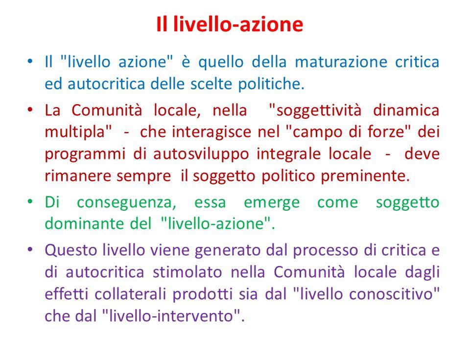 Il livello-azione Il livello azione è quello della maturazione critica ed autocritica delle scelte politiche.