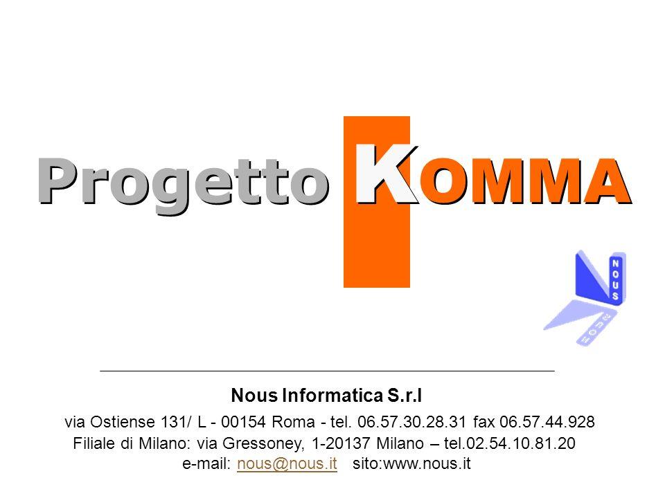 Progetto KOMMA Nous Informatica S.r.l. via Ostiense 131/ L - 00154 Roma - tel. 06.57.30.28.31 fax 06.57.44.928.