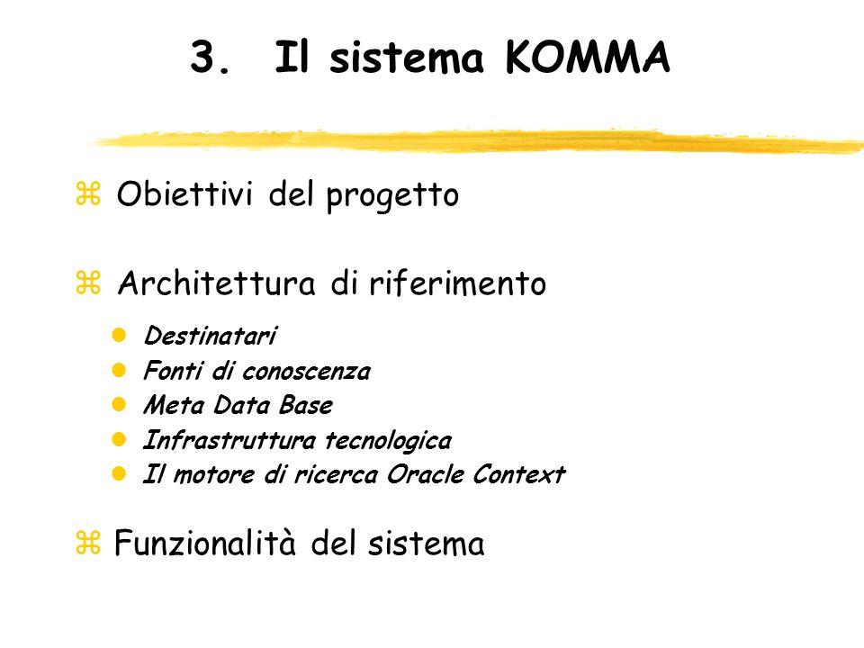3. Il sistema KOMMA Obiettivi del progetto Architettura di riferimento