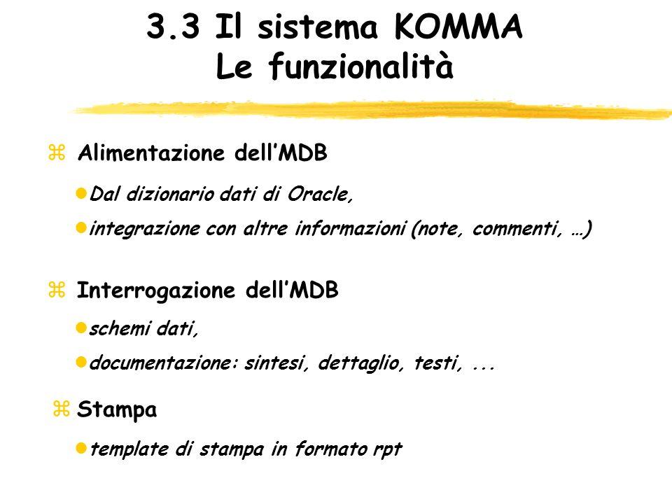 3.3 Il sistema KOMMA Le funzionalità
