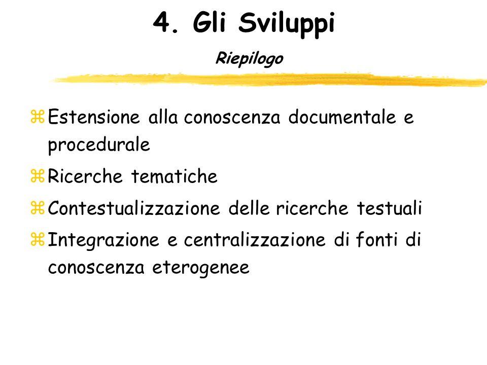 4. Gli Sviluppi Riepilogo