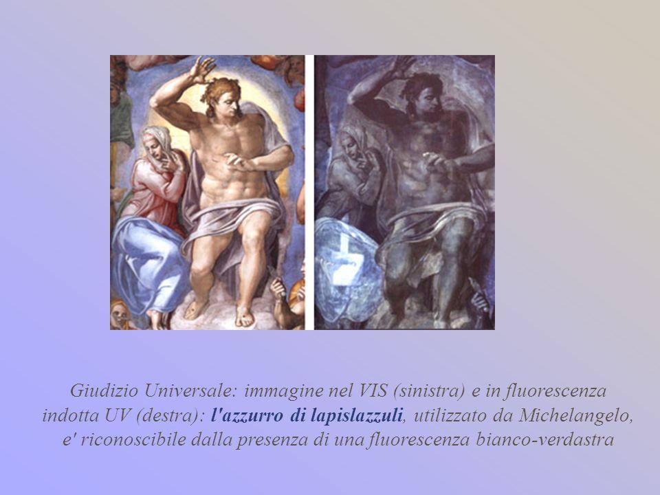 Giudizio Universale: immagine nel VIS (sinistra) e in fluorescenza indotta UV (destra): l azzurro di lapislazzuli, utilizzato da Michelangelo, e riconoscibile dalla presenza di una fluorescenza bianco-verdastra