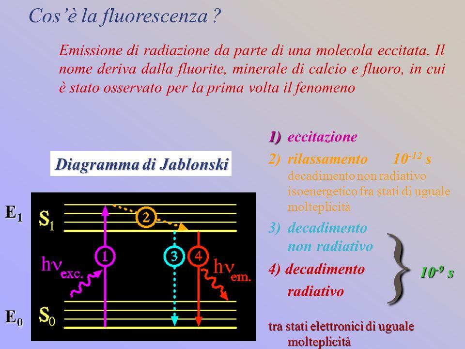 } Cos'è la fluorescenza E1 E0 Diagramma di Jablonski