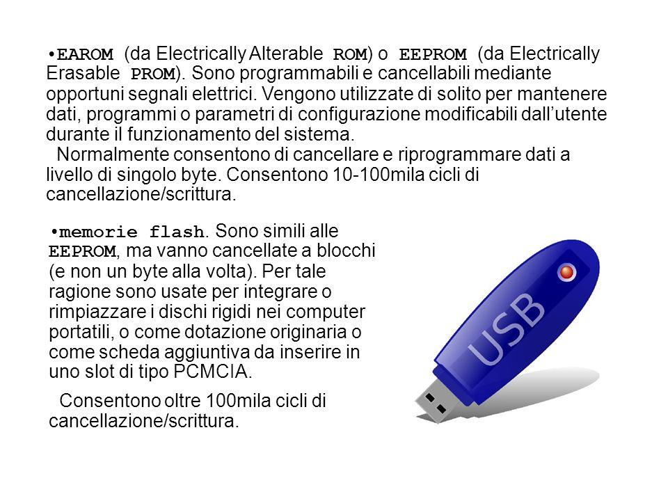 EAROM (da Electrically Alterable ROM) o EEPROM (da Electrically Erasable PROM). Sono programmabili e cancellabili mediante opportuni segnali elettrici. Vengono utilizzate di solito per mantenere dati, programmi o parametri di configurazione modificabili dall'utente durante il funzionamento del sistema.