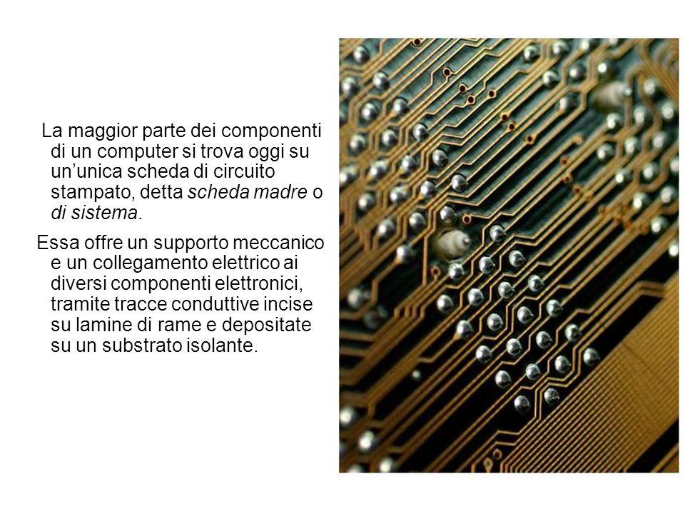 La maggior parte dei componenti di un computer si trova oggi su un'unica scheda di circuito stampato, detta scheda madre o di sistema.