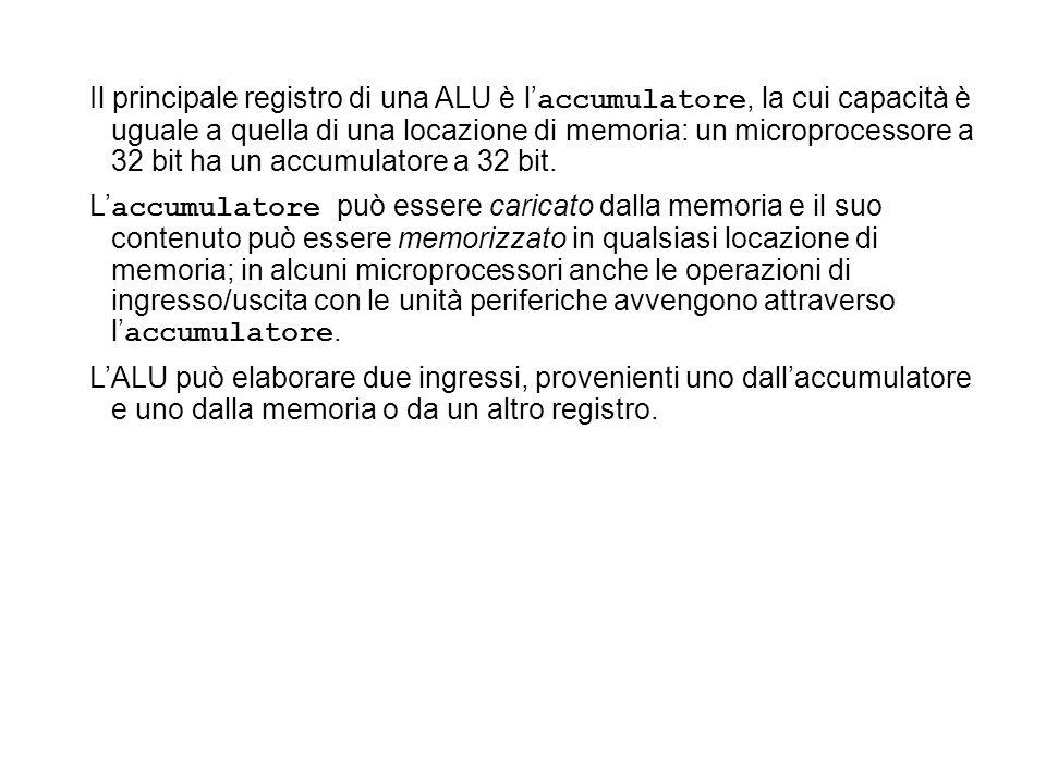 Il principale registro di una ALU è l'accumulatore, la cui capacità è uguale a quella di una locazione di memoria: un microprocessore a 32 bit ha un accumulatore a 32 bit.