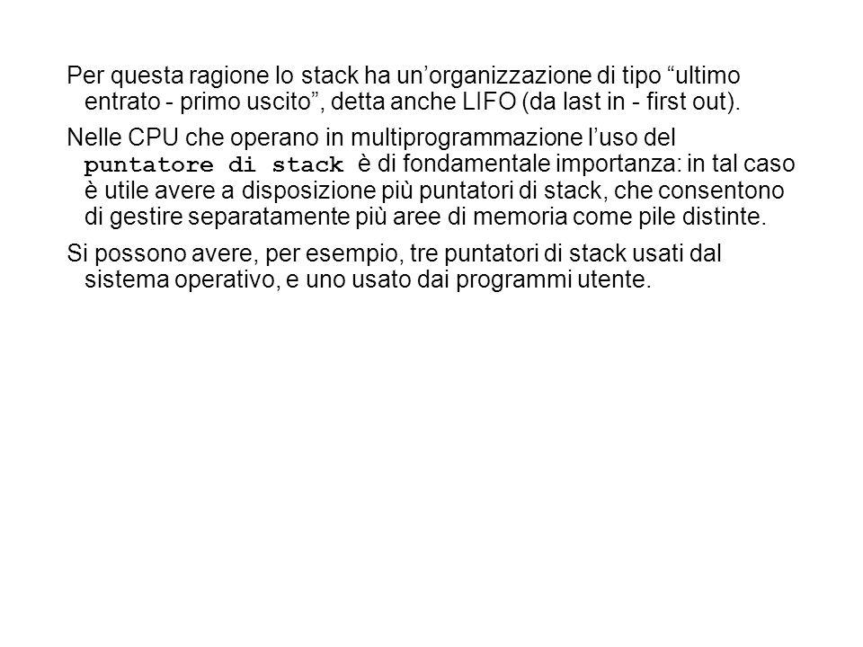 Per questa ragione lo stack ha un'organizzazione di tipo ultimo entrato - primo uscito , detta anche LIFO (da last in - first out).