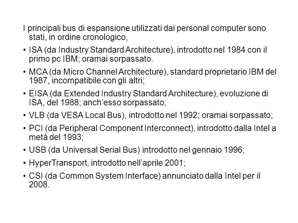 I principali bus di espansione utilizzati dai personal computer sono stati, in ordine cronologico,