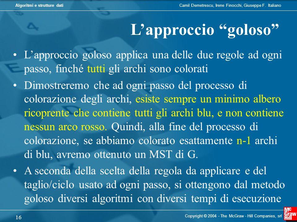 L'approccio goloso L'approccio goloso applica una delle due regole ad ogni passo, finché tutti gli archi sono colorati.