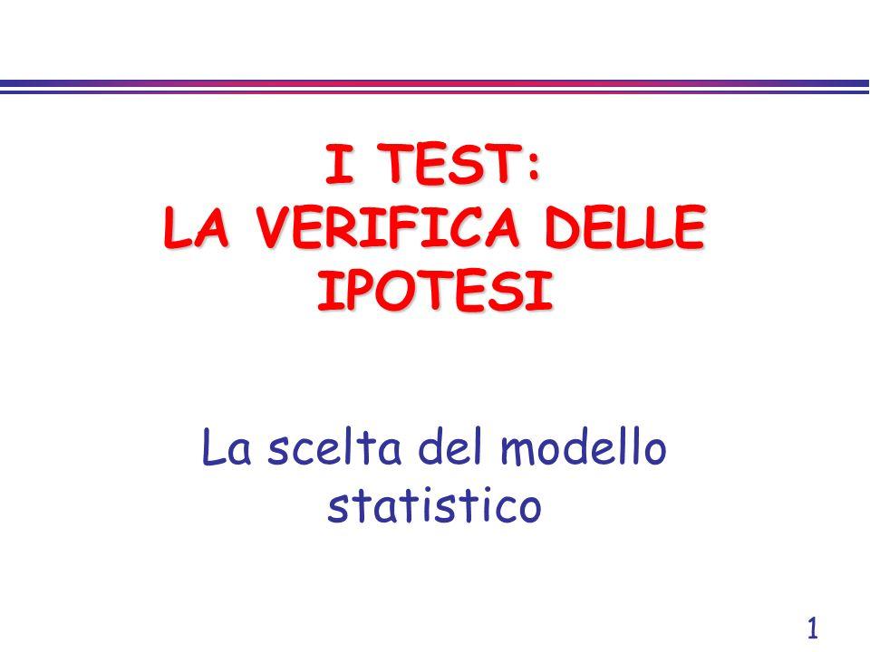 I TEST: LA VERIFICA DELLE IPOTESI