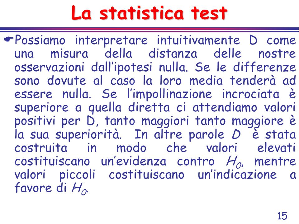 La statistica test