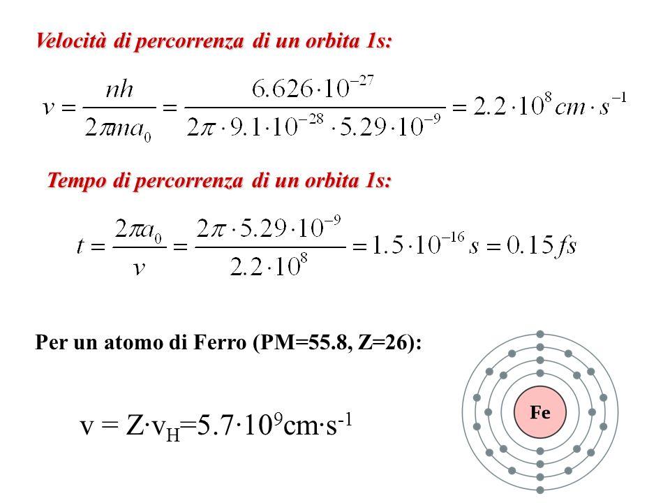 v = Z·vH=5.7·109cm·s-1 Velocità di percorrenza di un orbita 1s: