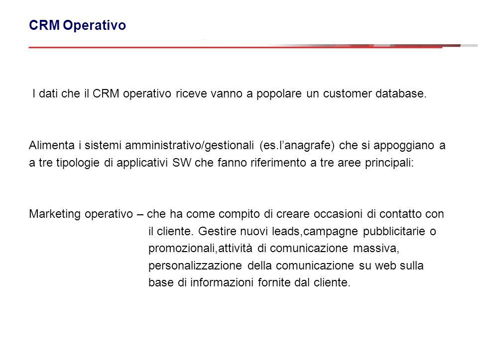 CRM Operativo I dati che il CRM operativo riceve vanno a popolare un customer database.