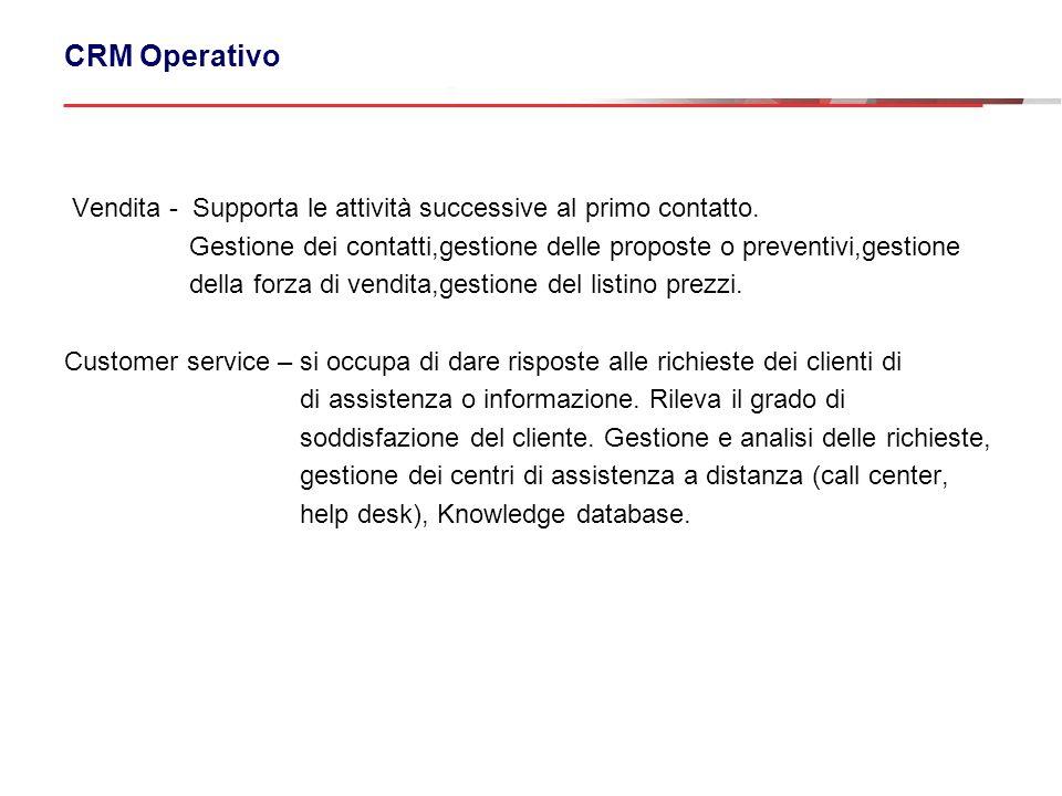 CRM Operativo Vendita - Supporta le attività successive al primo contatto. Gestione dei contatti,gestione delle proposte o preventivi,gestione.