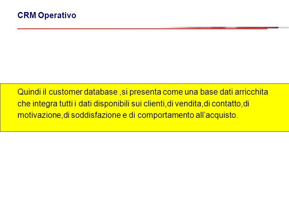 Quindi il customer database ,si presenta come una base dati arricchita