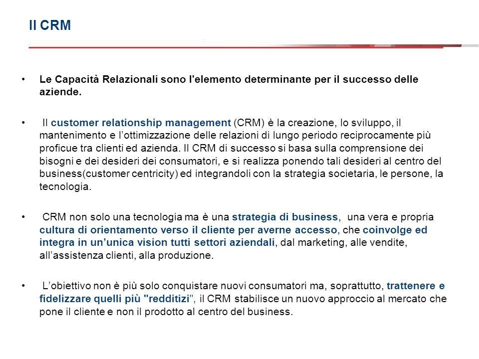 Il CRM Le Capacità Relazionali sono l elemento determinante per il successo delle aziende.