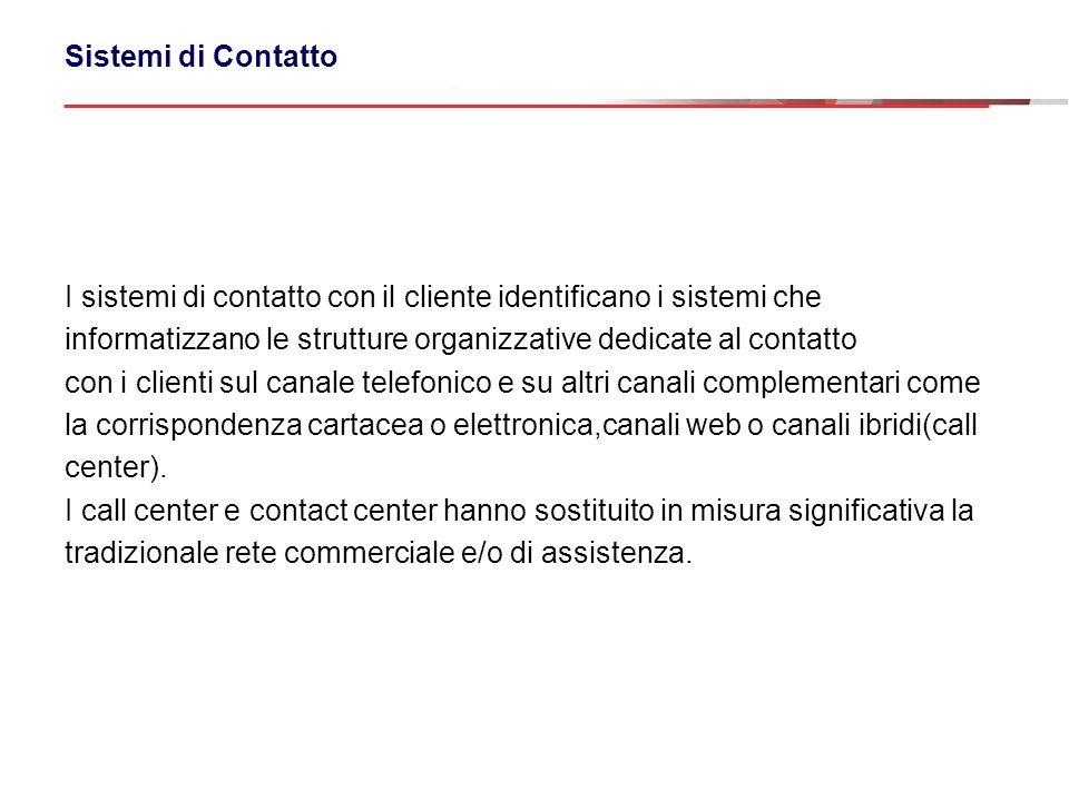 I sistemi di contatto con il cliente identificano i sistemi che